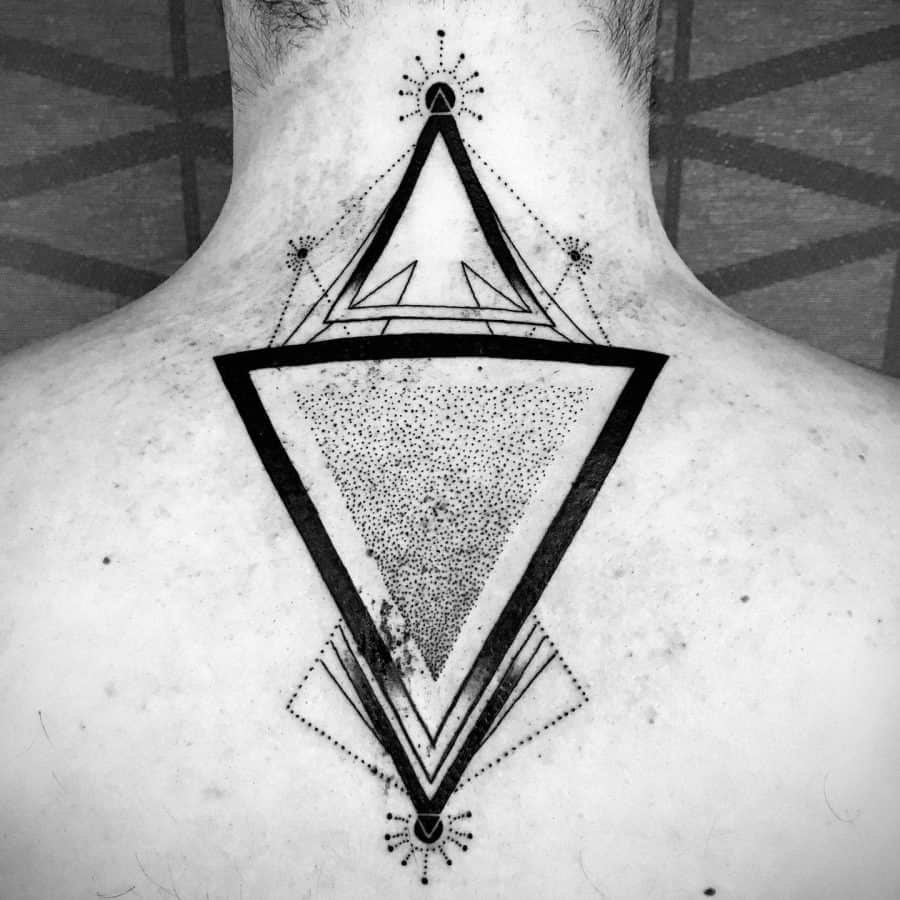 Alternate Style Directiontriangles Central Shaded Dotwork Geometric Tattoo