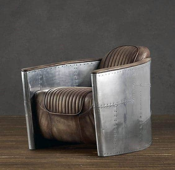Aluminum Aircraft Inspired Leather Chairs For Man Cave