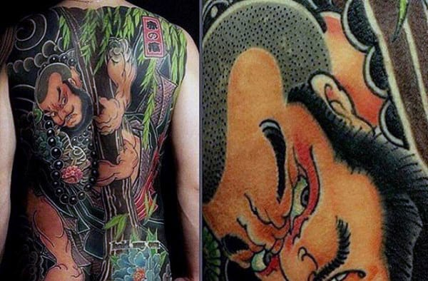 Amaing Chinese Full Back Male Tattoo With Colorful Design