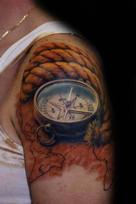 Amazing 3d Compass With Rope And Map Arm Tattoo For Men