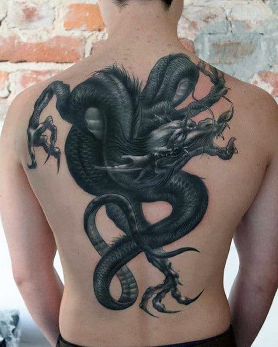 Amazing 3d Dragon Badass Back Tattoos For Males