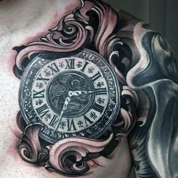 Amazing 3d Filigree Clock Mens Chest Tattoos