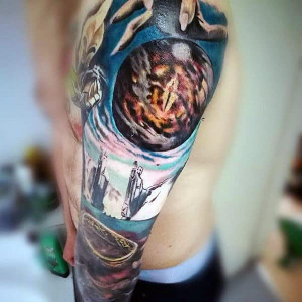 Amazing 3d Lord Of The Rings Guys Full Arm Sleev Tattoo