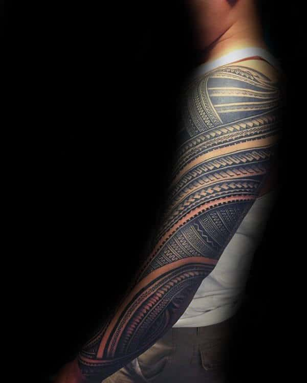 Amazing 3d Mens Full Sleeve Samoan Tribal Tattoos