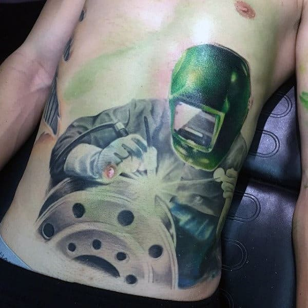 Amazing 3d Mens Realistic Welding Stomach Tattoos