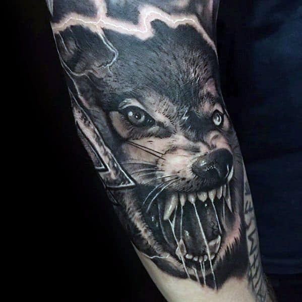 Amazing 3d Mens Sleeve Agressive Sick Wolf Tattoo Designs