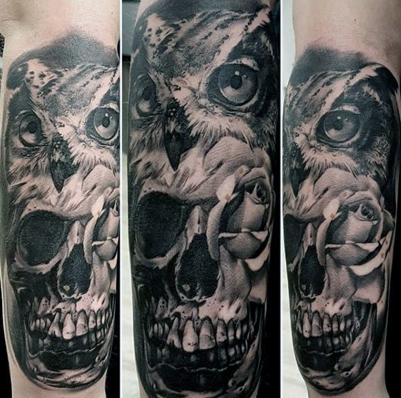 Amazing 3d Owl Skull Guys Outer Forearm Tattoos