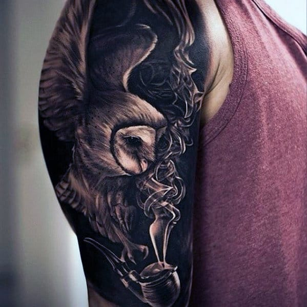 Amazing 3d Owl With Smoking Pipe Half Sleeve Dark Black Ink Tattoos