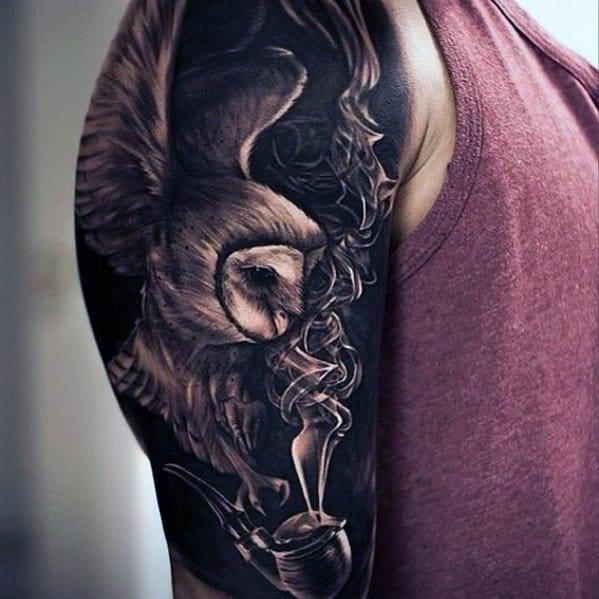 Amazing 3d Owl With Smoking Pipe Half Sleeve Dark Black Ink Tattoos