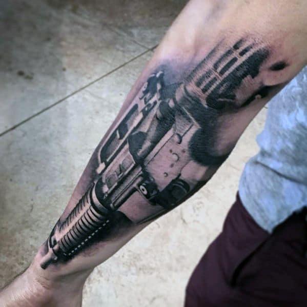 Amazing 3d Realistic Ar 15 Rifle Guys Masculine Tattoos