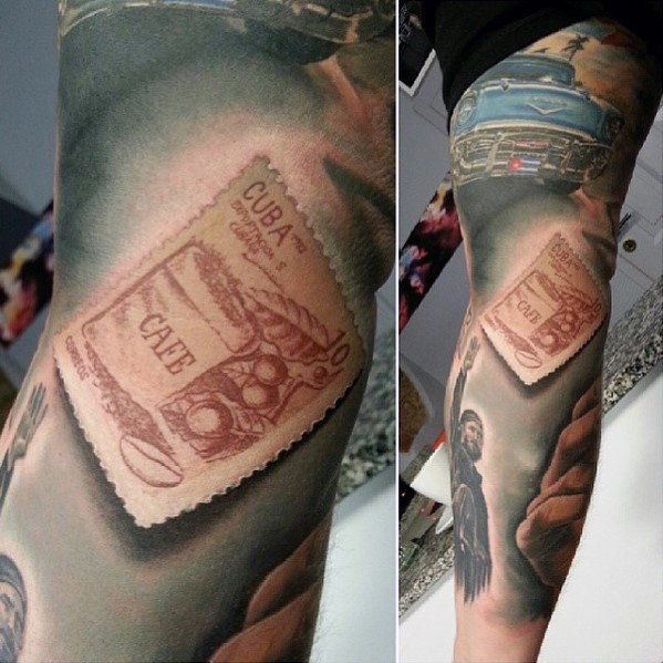 Amazing 3d Realistic Arm Mens Postage Stamp Tattoo Designs