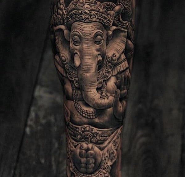 Amazing 3d Realistic Ganesh Forearm Sleeve For Men