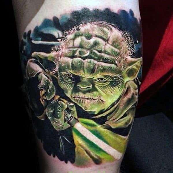 Amazing 3d Realistic Mens Quarter Sleeve Yoda Light Saber Tattoos