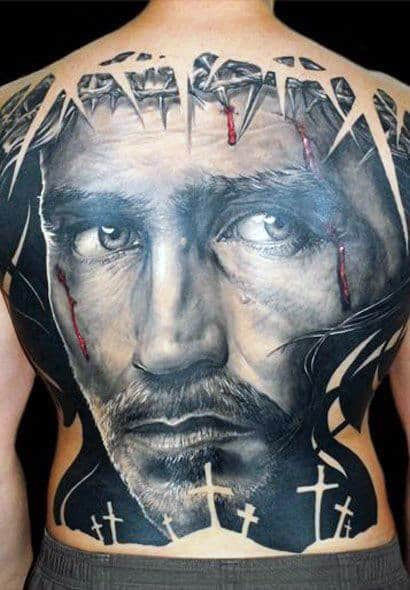 Amazing 3d Realistic Portrait With Thorns And Crosses Mens Full Back Tattoos