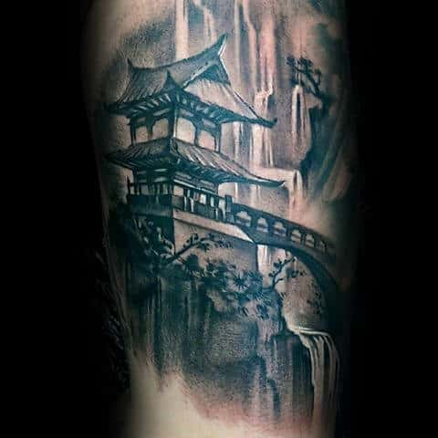 Amazing 3d Realistic Waterfall With Temple Japanese Tattoo Ideas For Males