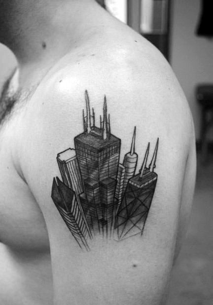 Amazing 3d Skyline Chicago City Mens Upper Arm Tattoo Designs