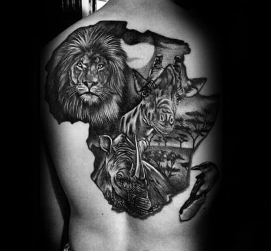 Amazing Africa Animals Themed Back Tattoo For Men