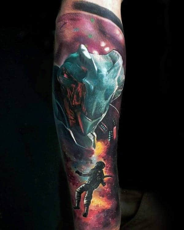 Amazing Alien Watercolor Mens Outer Space Tattoo Sleeve