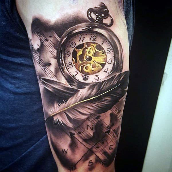Amazing Angel Feather And Blazing Pocket Watch Tattoo Forearms Males