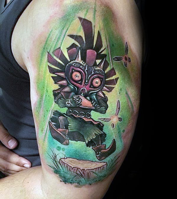 Amazing Arm Mens The Legend Of Zelda Majoras Mask Tattoo Designs