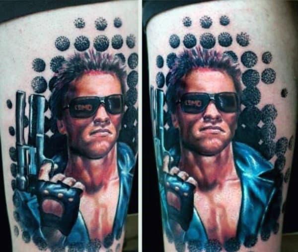 Amazing Arnold Schwarzenegger Mens Circular Terminator Thigh Tattoos For Guys
