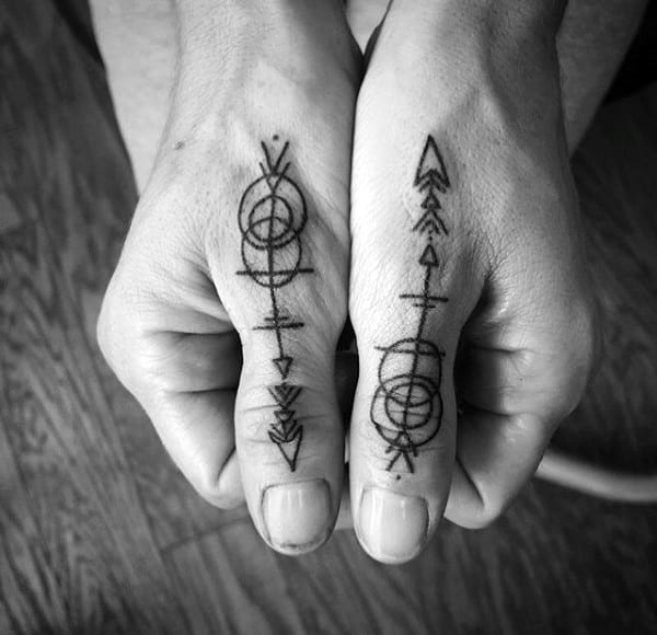Amazing Arrow Black Ink Thumb Guys Tattoos