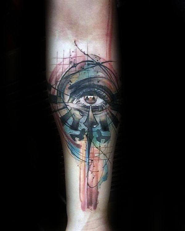 Amazing Artistic Abstract Triforce Inner Forearm Male Tattoos