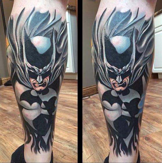 Amazing Back Of Leg Sleeve Batman Tattoos On Guy