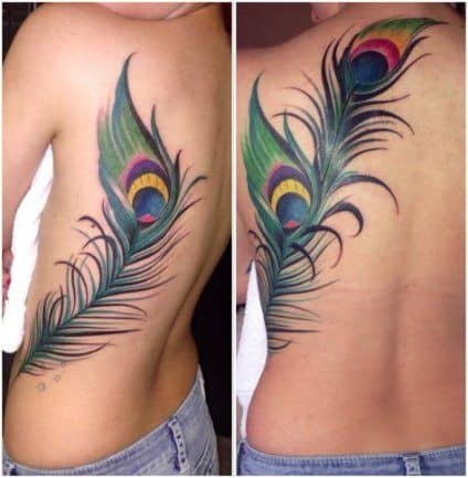 Amazing Back Peacock Feather Tattoo