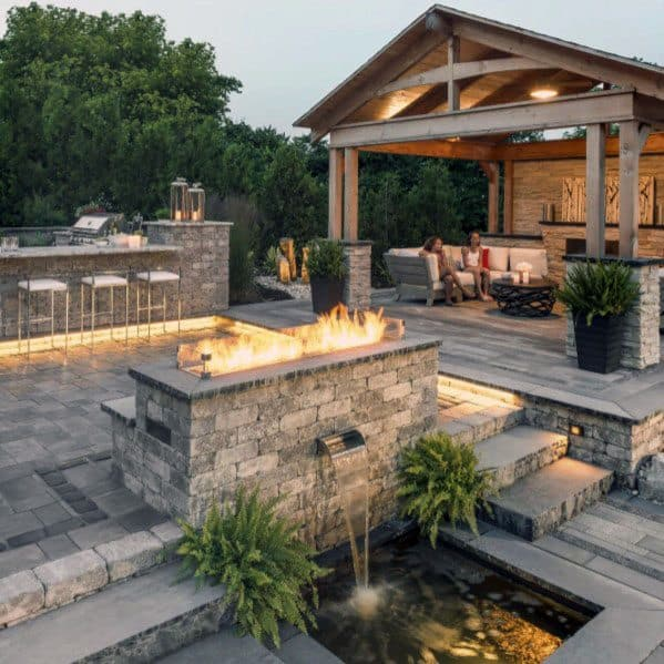 Amazing Backyard Paver Patio Ideas With Bar And Covered Roof