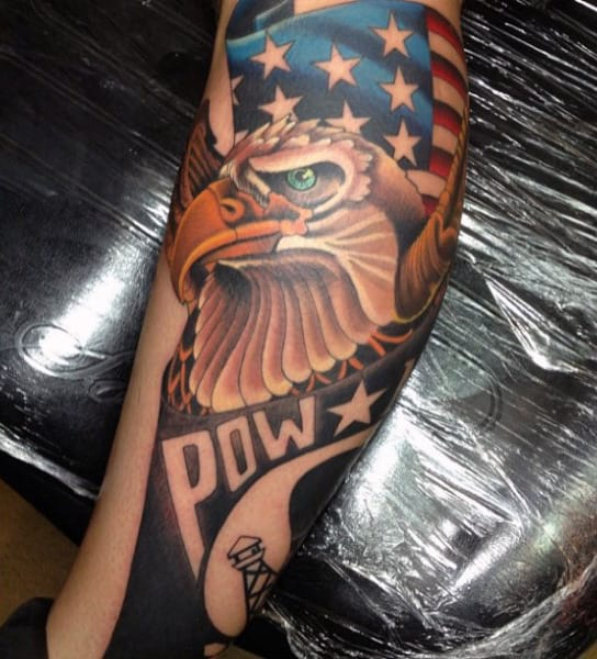 Amazing Bald Eagle And American Flag Tattoo Mens Forearms