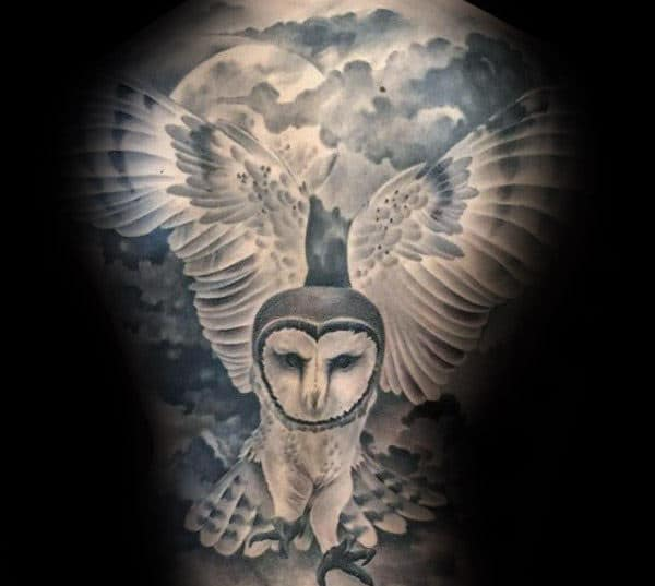 Amazing Barn Owl Full Back Tattoos For Gentlemen