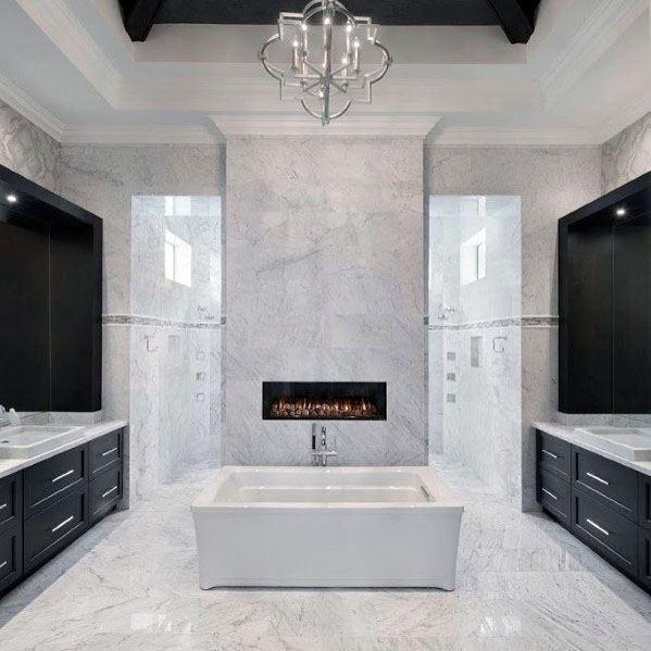 Amazing Bathroom Linear Fireplace Above Bath Tub Ideas