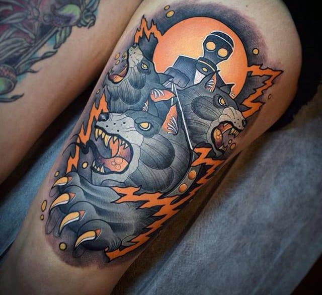 Amazing Bear Orange Glowing Thigh Tattoos For Men
