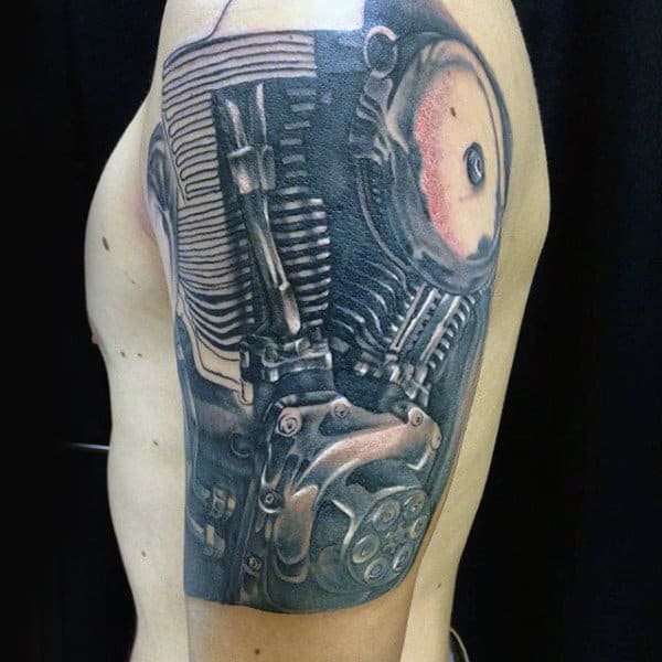 Amazing Biker Mens Engine Arm Tattoo Design Inspiration