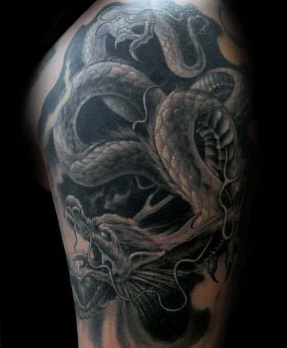 Amazing Black And Grey Dragon Male 3d Upper Arm Tattoos