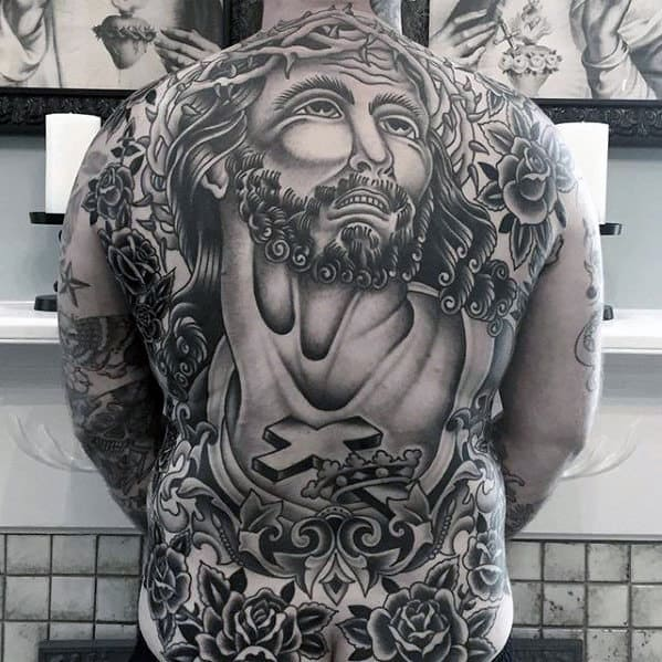 Amazing Black And Grey Ink Mens Traditional Jesus Themed Full Back Tattoos