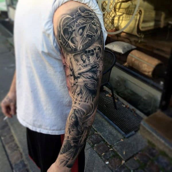 Amazing Black And Grey Tattoo Male Full Sleeves
