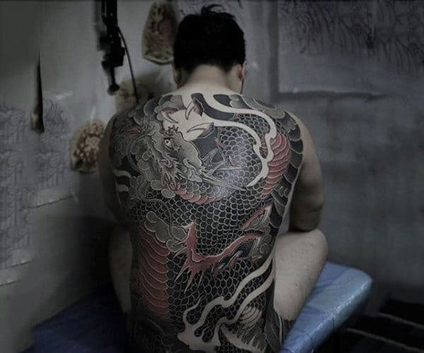 Amazing Black And Red Chinese Dragon Tattoo Mens Full Back