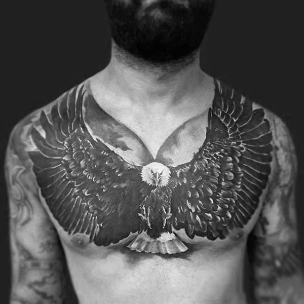 Amazing Black And White Ink Heavily Shaded Tattoo Of Eagle On Chest For Men