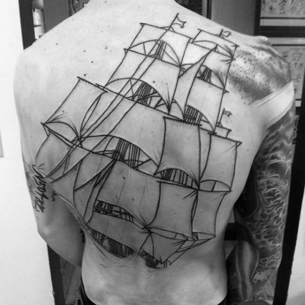 Amazing Black Ink Outline Mens Sailing Ship Full Back Tattoo Designs