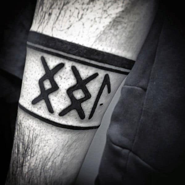 Viking Armband Tattoo Designs: Germanic Lettering Design Ideas