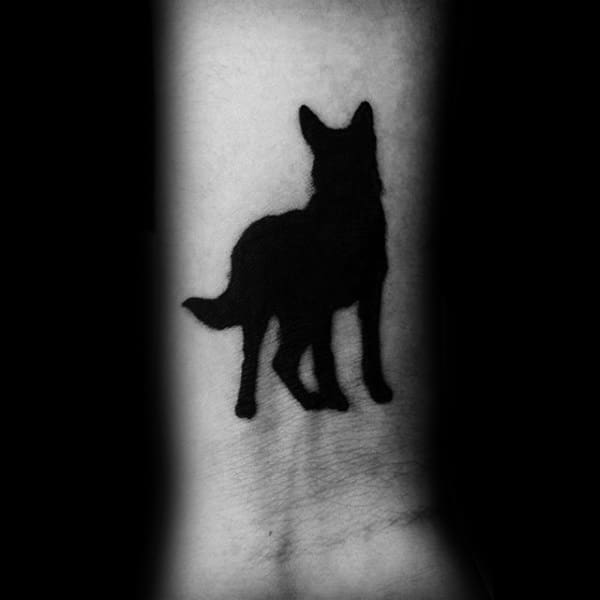 Amazing Black Ink Solid Guys German Shepherd Dog Wrist Tattoos