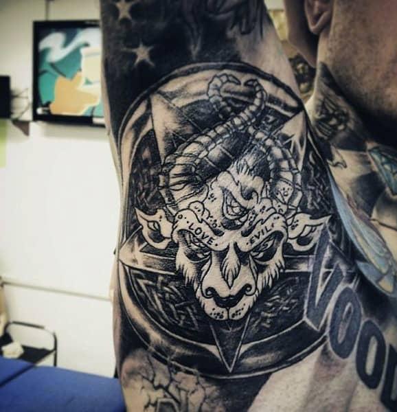 Amazing Black White Tattoo Male Armpits