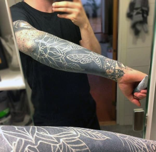 Amazing Blackwork Tattoo With White Ink Outlines For Men