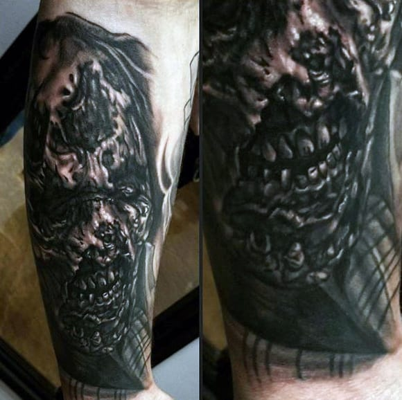 Amazing Blank Ink Mens Zombie Tattoo Design Inspiration