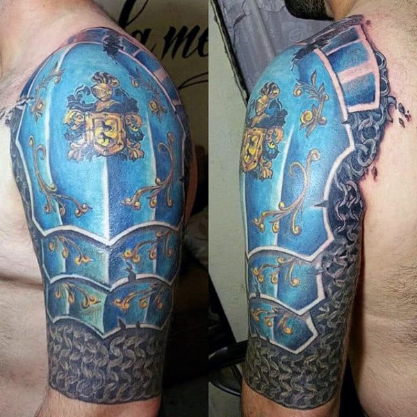 Amazing Blue Armor Tattoo For Males Half Sleeve