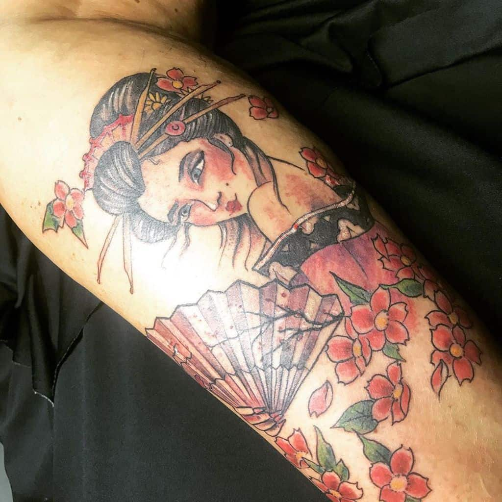 Amazing Body Cover Up Geisha Tattoo