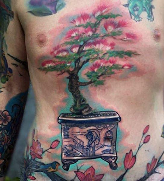 Amazing Bonsai Tree Stomach Tattoos For Guys