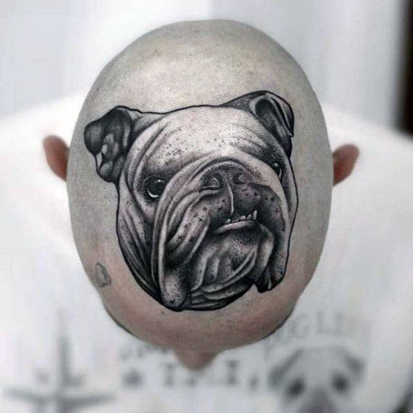 Amazing Bulldog Mens Head Tattoos